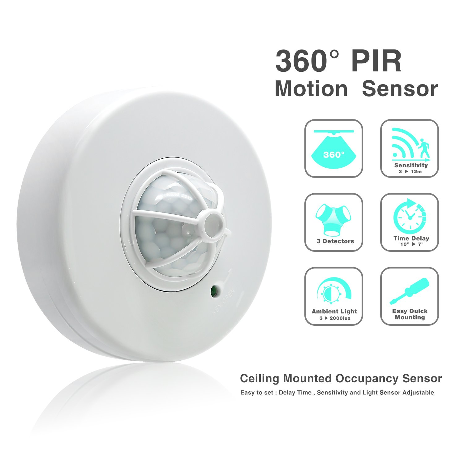 Sensky 360 Degree Ceiling Mounted Occupancy Sensor High Lutron Lighting Wiring Diagram Sensitivity Motion Switch With 3 Detectors Time Distance And Light Adjustable