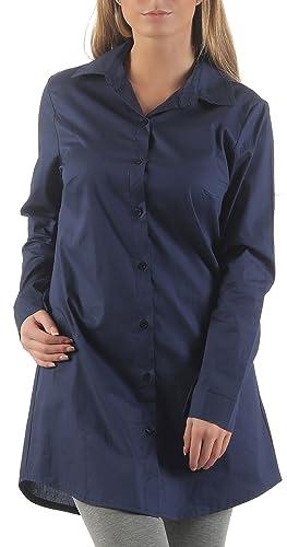 malito Blusa larga Camisera Clásica Oversize Boyfriend-Style Casual Botones 5949 Mujer