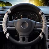"""Leather Steering Wheel Covers for women,14.56-14.96"""",for Honda/Toyota Vehicles,Gray,M"""