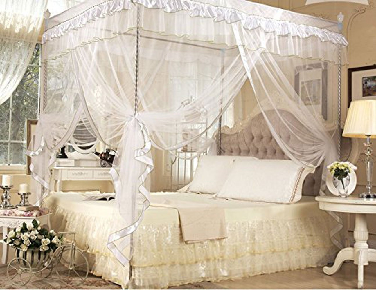 CdyBox 4 Corners Bed Canopy Twin Full Queen King Mosquito Net (Full/Queen, White)