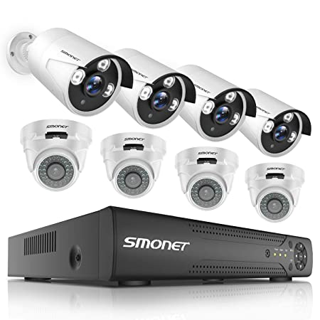 2019 New HD Security Camera System Outdoor,SMONET 8-Channel Home Security System 1TB Hard Drive ,8pcs Outdoor Indoor Security Cameras,Surveillance Camera System with Night Vision,Plug Plug,Free APP