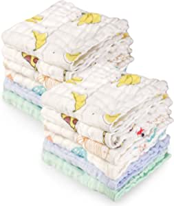Viviland Baby Muslin Washcloths 12 Pack for Baby's Sensitive Skin, Organic Natural 6-Layer Cotton Bath Towel, Soft Newborn Baby Face Wipes, Great Shower Gift, 12 x 12 inches