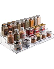 mDesign Kitchen Spice Organiser - Pull Out Spice Storage for a Tidy Kitchen - 3 Tier Herb and Spice Rack with Space for Jars and Packets - Avoid Clutter in Your Kitchen - Transparent