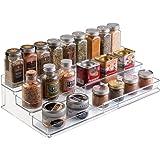 mDesign Portaspezie da cucina – Mensola portaspezie espandibile per una cucina sempre ordinata – Porta spezie a 3 ripiani in robusto PVC – trasparente