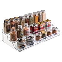 mDesign Expandable Kitchen Cabinet Organizer Rack for Spices, Condiments, Canned Food - 3 Tiers, Clear