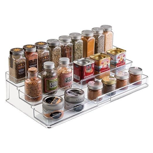 mDesign Especiero extensible de plástico - Estante para especias y ...