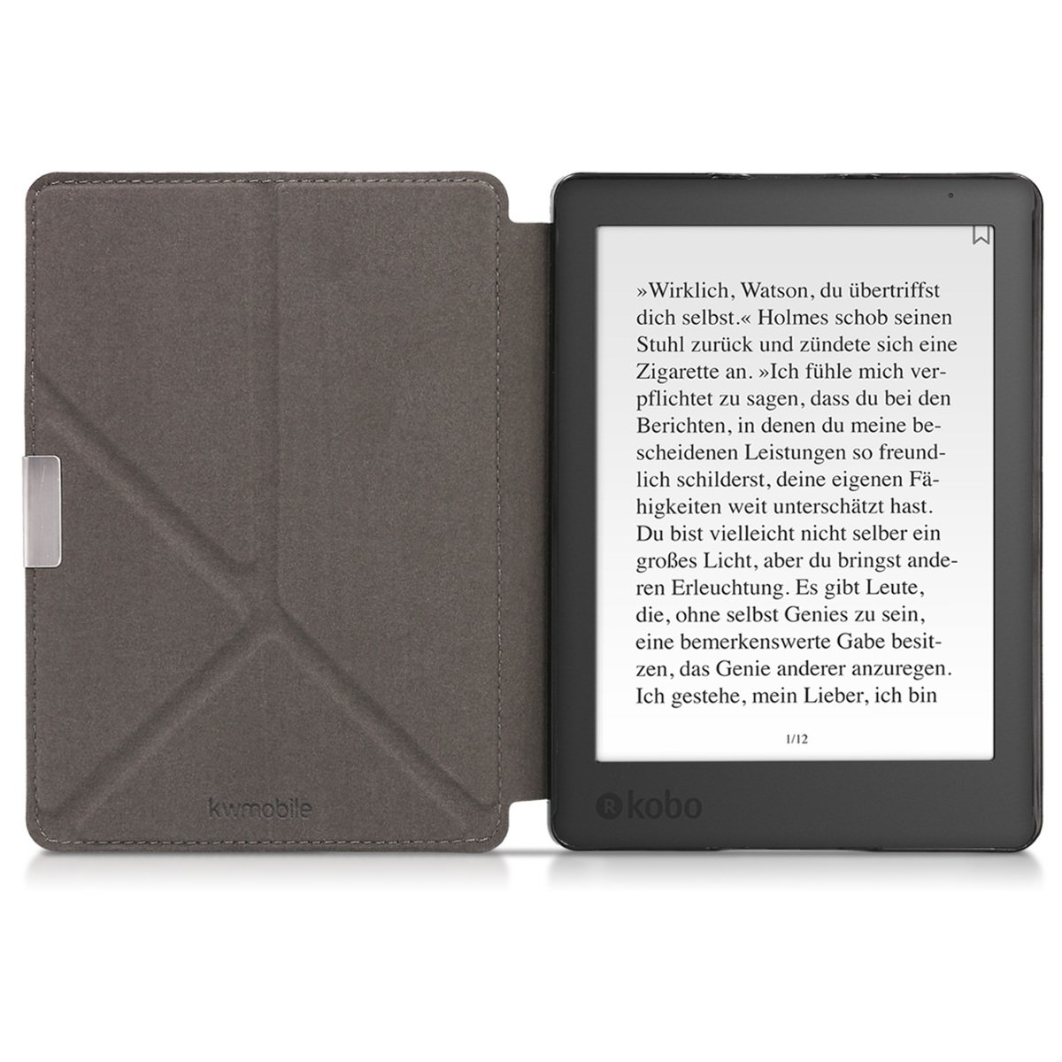 kwmobile Cover case for Kobo Aura Edition 2 with stand - Ultra slim case made of synthetic leather Sleeping Owl in turquoise brown mint by kwmobile (Image #5)