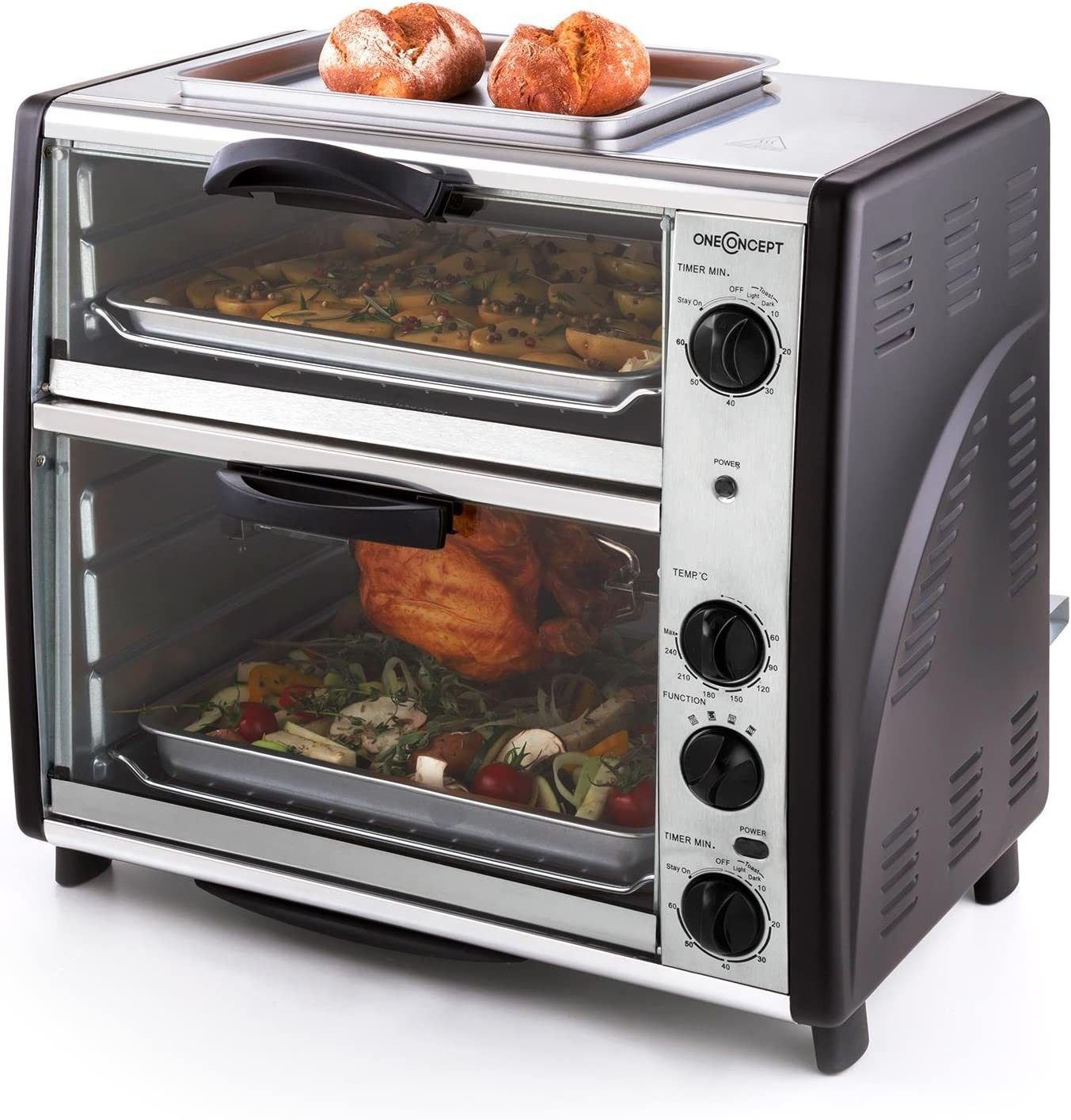 oneConcept All-You-Can-Eat Horno eléctrico doble - 2 cámaras de cocción, Parrilla superior, Capacidad Total 42 L, 2400 W, Temperatura: 60-240°C, Temporizador, Acero inoxidable, Plateado