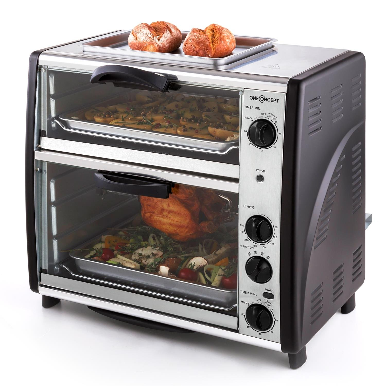 oneConcept All-You-Can-Eat Horno eléctrico doble - 2 cámaras de cocción , Parrilla superior , Capacidad Total 42 L , 2400 W , Temperatura: 60-240°C , Temporizador , Acero inoxidable , Plateado