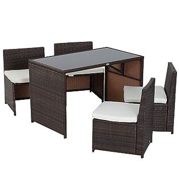 Outsunny Ensemble Salon de Jardin encastrable 4 chaises monoblocs avec  Coussins déhoussables et Table résine tressée Chocolat
