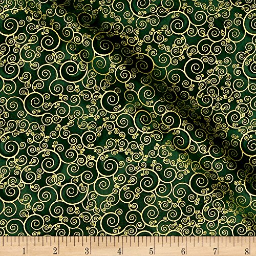 Timeless Treasures Christmas Morning Metallic Scroll Green Fabric by The Yard