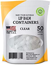 Lip Balm Containers, 50 Clear Round Tubes, Made in USA, 0.15 oz, FDA Approved, 100% BPA Free, with Clear Caps by Mary Tylor Naturals, for DIY Lipstick, homemade Lip Balm (50, Clear)