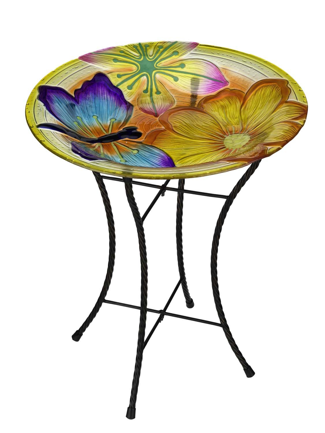 Regal Art & Gift Dragonfly Glow Birdbath, 18''