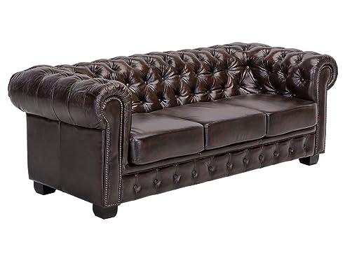 Woodkings® Chesterfield Sofa 3-Sitzer braun vintage Echtleder ...