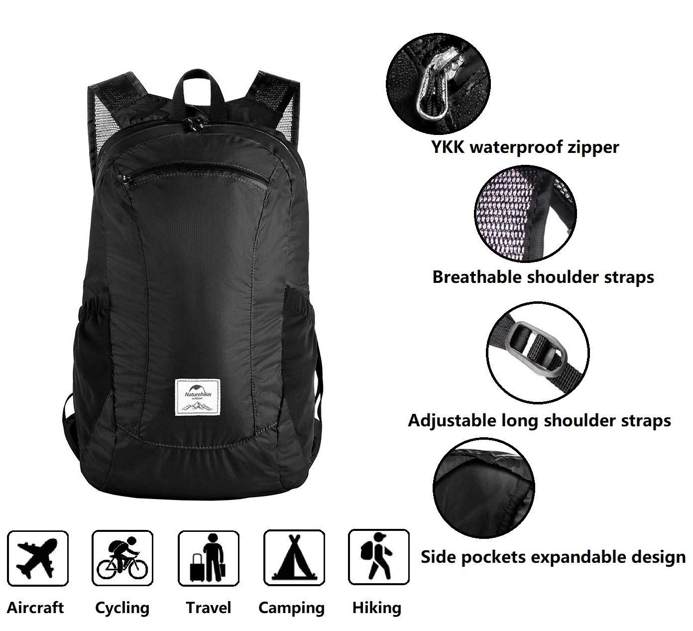 fc734cd70 Amazon.com : Sunuo Outdoor Folding Waterproof Portable Packable Pocket Bag  Travel Walking Lightweight Backpack Sports Bag Shoulder Bag Daypack 18L  (Black) ...