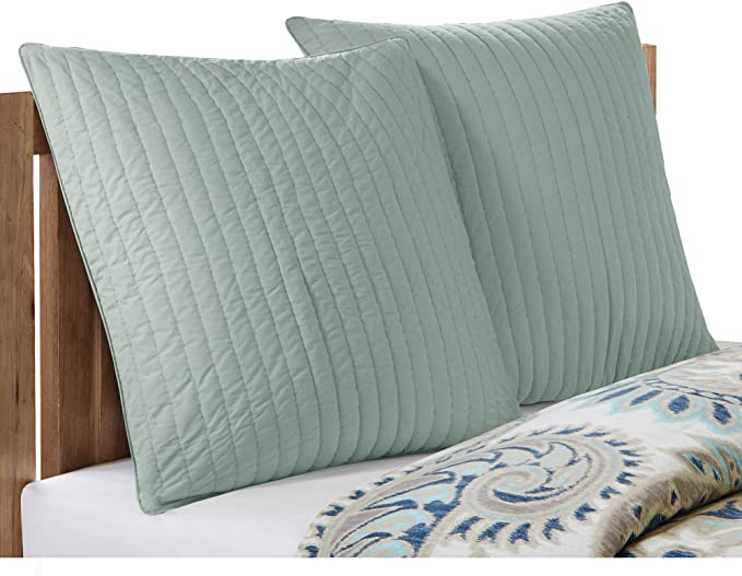 Ink Ivy Camila Cotton Quilted Euro Sham 26x26 Inches Seafoam Hidden Zipper Insert Not Included Sold Individually Home Kitchen Amazon Com