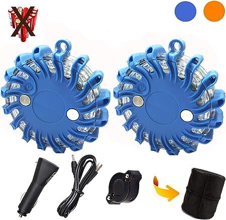 Mioke 3 StÜcke 2 Warnleuchten Warnlicht Mit Magnet Rundum Warnblinkleuchte 9 Leuchtmodi Ladegerät Komplettes Kit Blau Auto