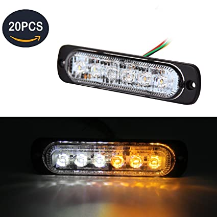 2pcs 12 LED Car Truck Emergency Grill Warning Flash Strobe Light Bar Amber/&White