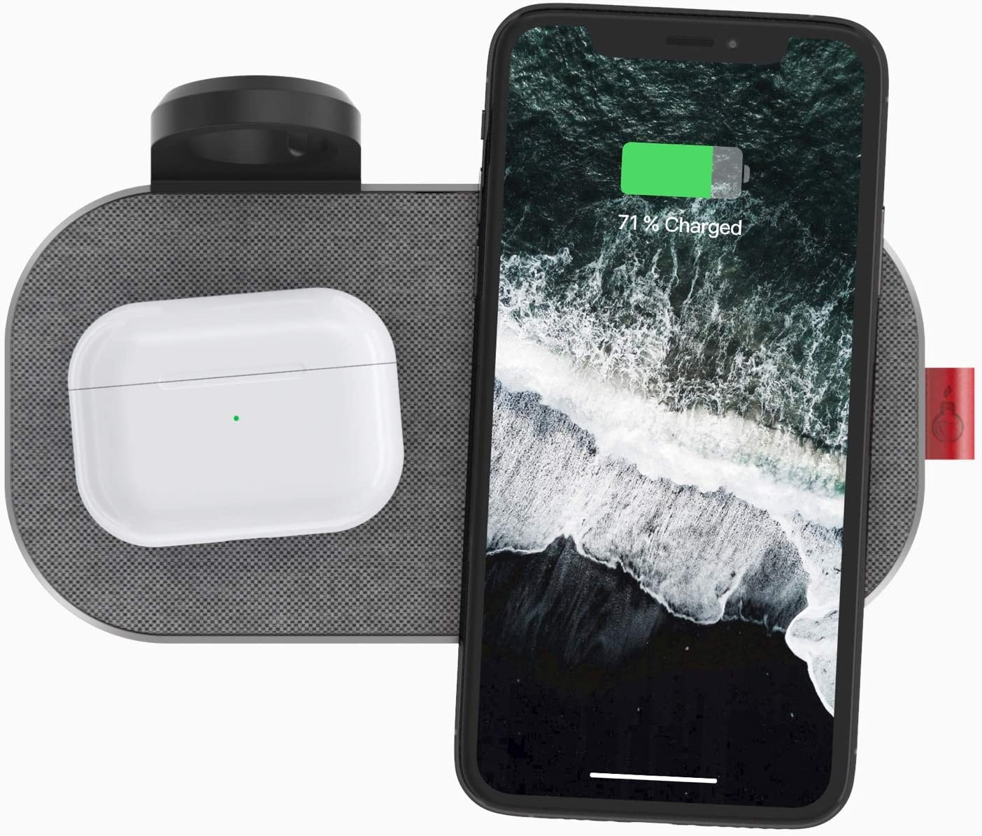 SliceCharge 3 Hub Edition Fast Wireless Charger Pad,4-in-1 Qi-Certified 10W Wireless Charging Mat, Compatible iPhone 12/12 Pro/ 12 Pro Max,Samsung Galaxy,AirPods Pro(48W Adapter Included)