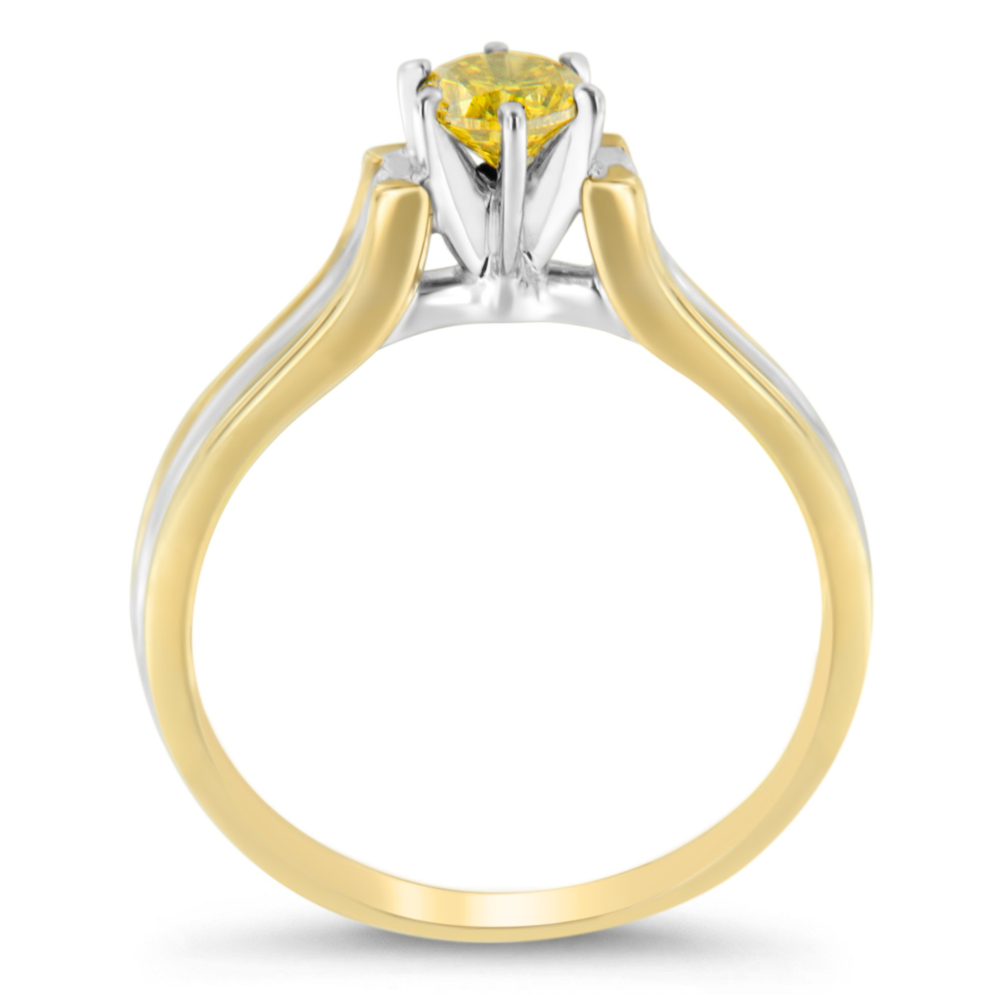 14K Two-Toned Gold Treated Yellow Round Diamond Solitaire Engagement Ring (0.5 cttw, Yellow Color, I2-I3 Clarity)