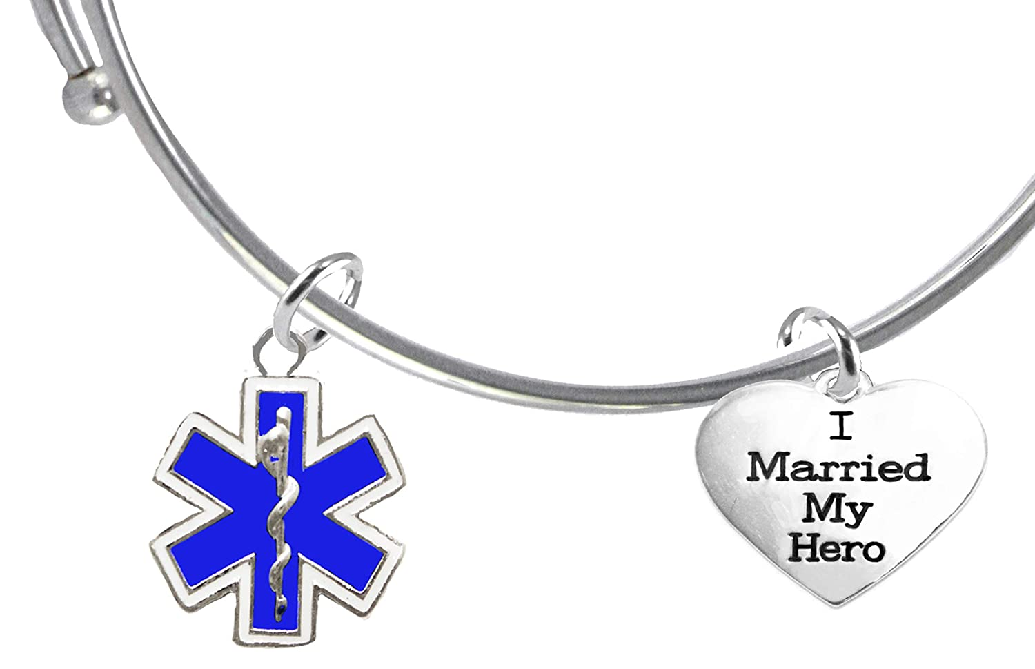 Cardinali Jewelry EMT EMT Firefighters I Married My Hero Lead and Cadmium Free Parmedic Hypoallergenic Safe-Nickel On A Adjustable Miracle Wire Bracelet