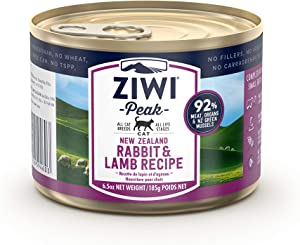 ZIWI Peak Canned Wet Cat Food – All Natural, High Protein, Grain Free, Limited Ingredient, with Superfoods (Rabbit & Lamb, Case of 12, 6.5oz Cans)
