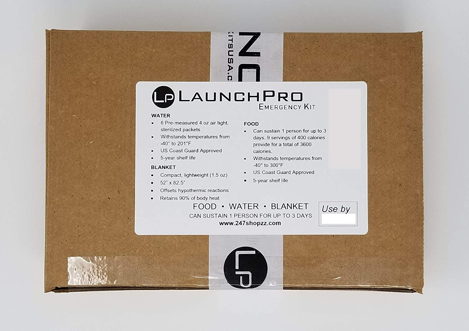 LaunchPro Emergency Food, Water & Thermal Blanket for 1 Person, 3 Days, add to Emergency or Survival kit