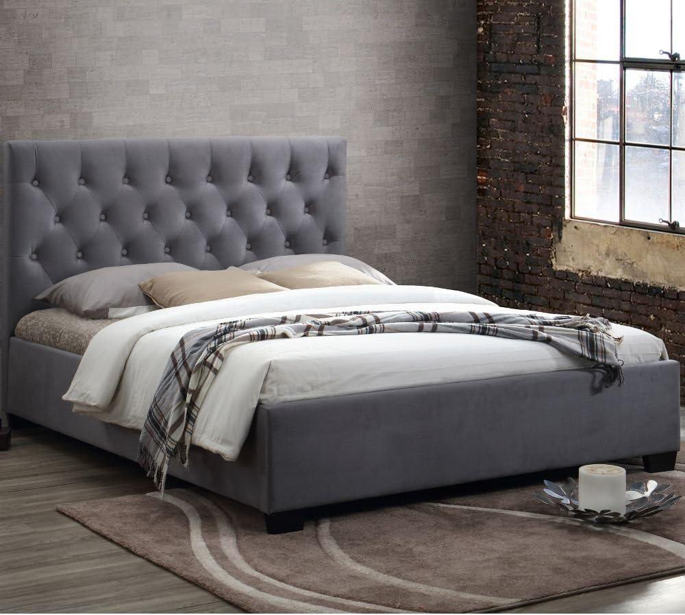 Happy camas Colonia tela cama tapizada moderna dormitorio muebles colchones, tela, Gris, 5FT - Frame Only