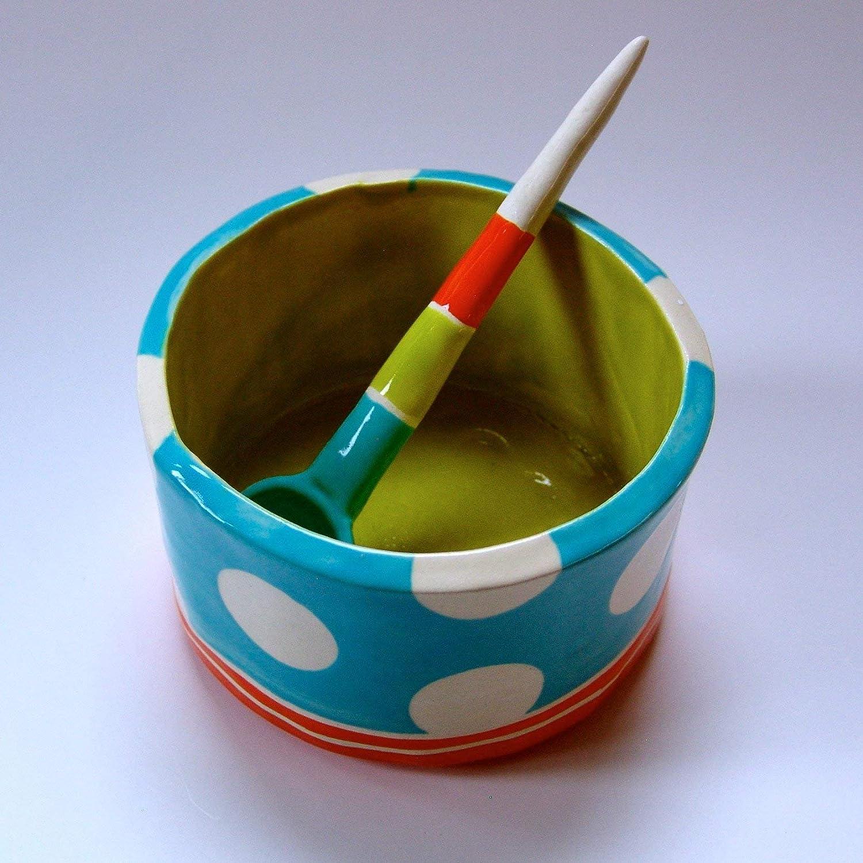 condiment dish Salt Dish chevron pattern whimsical pottery Sugar Bowl w handmade ceramic spoon red /& turquoise
