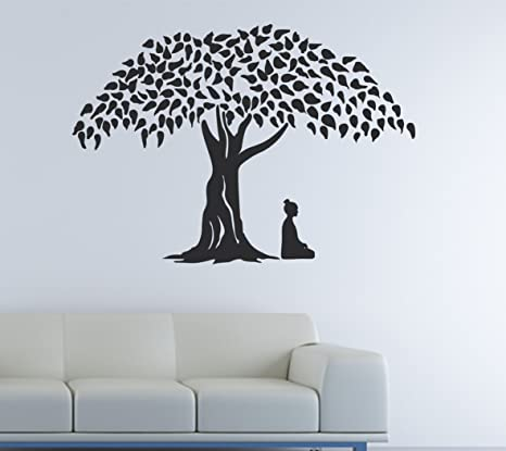 f6952ea9566 Buy Happy Walls  Lord Buddha Meditating Under Tree  PVC Wall Sticker Online  at Low Prices in India - Amazon.in