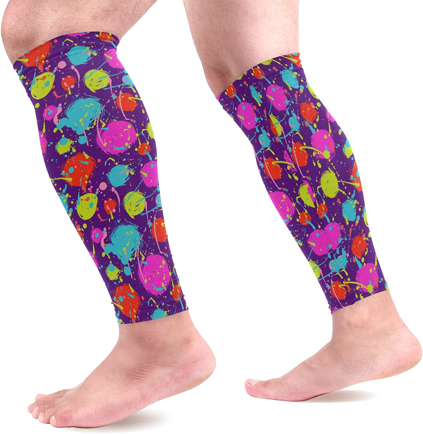visesunny Painted Circles Pattern Sports Calf Support Sleeves for Muscle Pain Relief, Improved Circulation Compression Effective Support for Running, Jogging,Workout,Recovery(1 Pair)