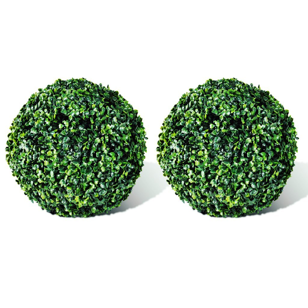 Festnight 2 Pcs 10.6 in. Popular Artificial Plant Topiary Ball Tree Boxwood Wedding Event Home Outdoor Decoration