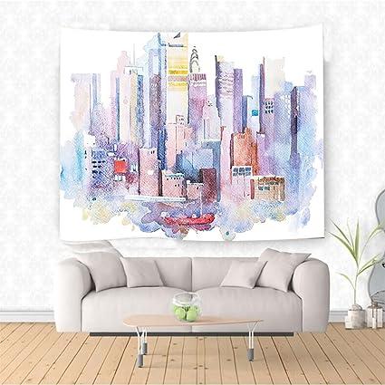 Amazon Com Nalahome Cityscape Watercolor New York Manhattan View