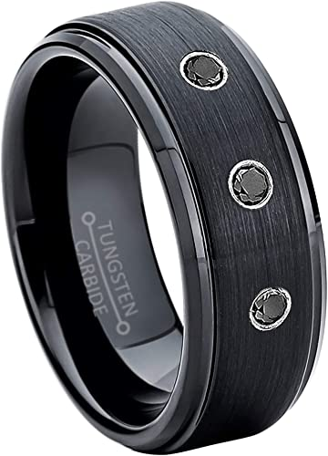 April Birthstone Ring Jewelry Avalanche 0.07ct Black Diamond Tungsten Ring 8MM Comfort Fit Matte 2-Tone Black /& Rose Gold Stepped Edge Tungsten Carbide Wedding Band