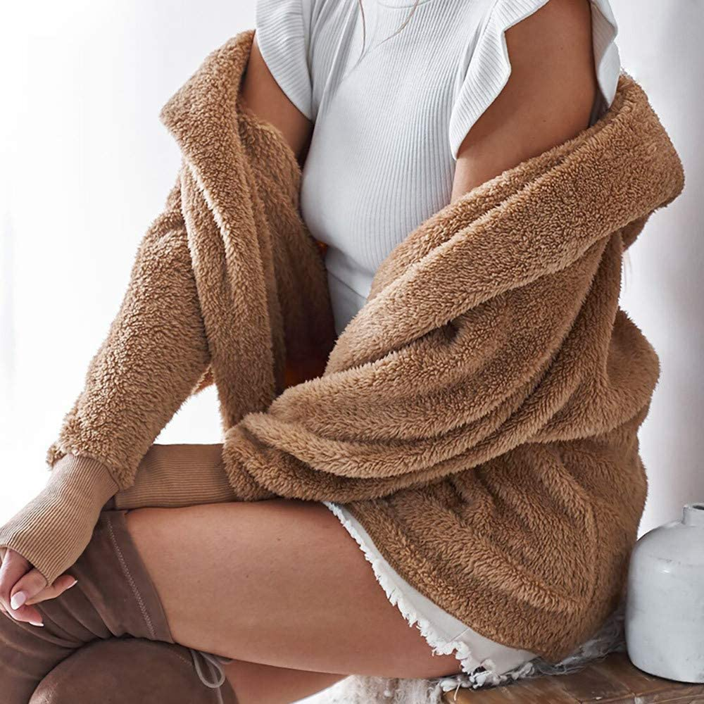 Muranba Clearance Womens Winter Hooded Fluffy Coat Cardigan Overcoat