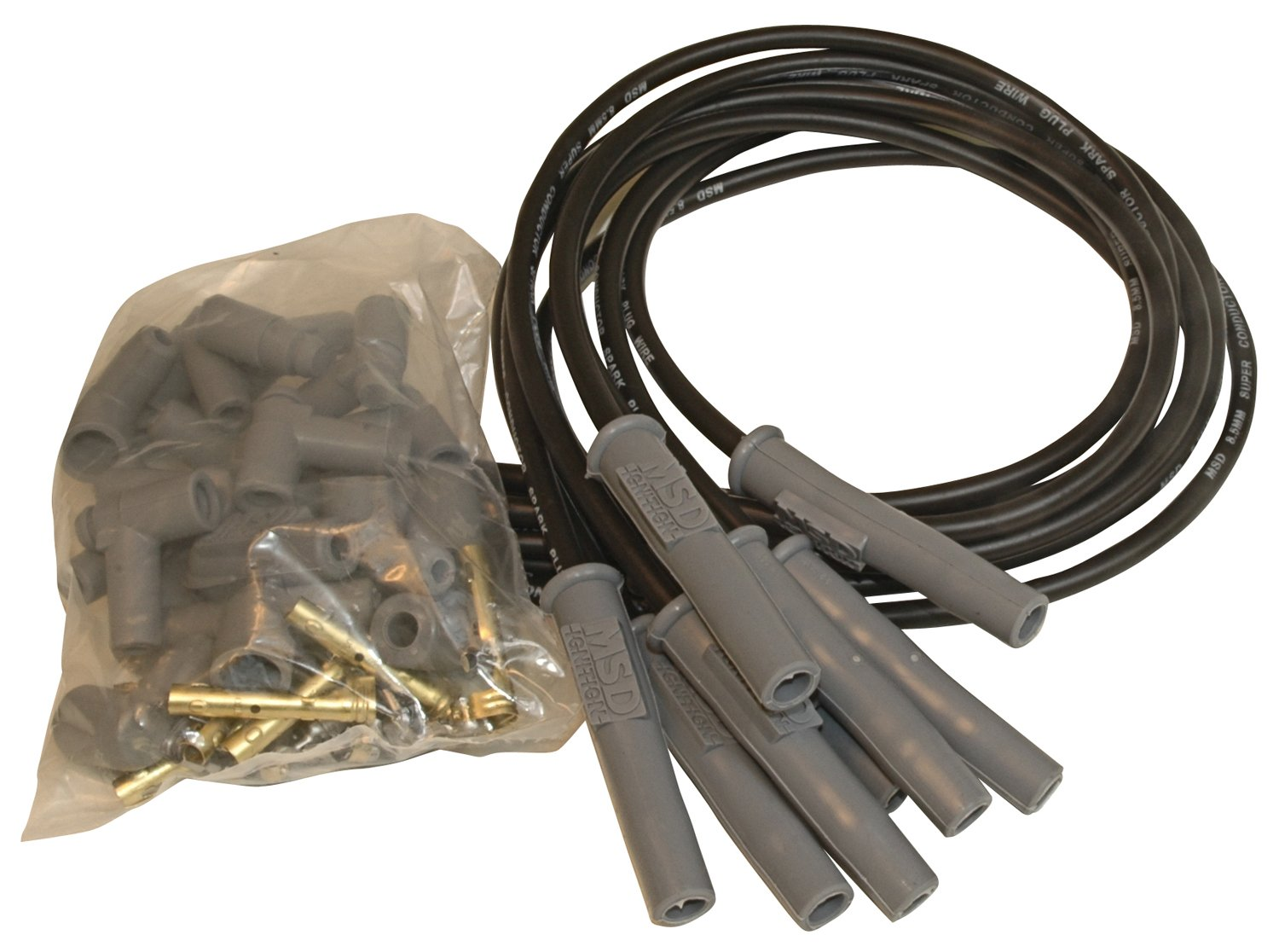 MSD 31193 Black 8.5mm Super Conductor Spark Plug Wire Set by MSD