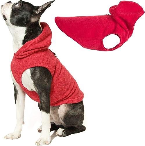 Gooby - Fleece Vest Hoodie, Small Dog Pull-Over Hooded Fleece Jacket with Leash Ring