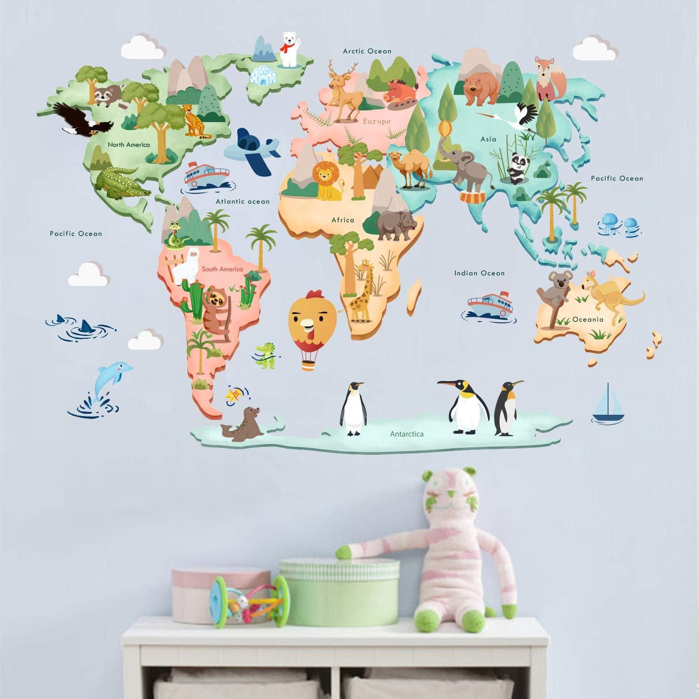ufengke/® Bande Dessin/ée Carte du Monde Animal Mignon Stickers Muraux La Chambre des Enfants P/épini/ère Autocollants Amovibles