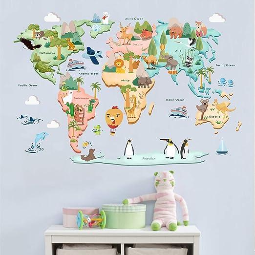 Decalmile Wandtattoo Weltkarte Tiere Wandsticker Kinderzimmer Wandaufkleber Babyzimmer Schlafzimmer Wohnzimmer Klassenzimmer Wanddeko Amazon De Kuche Haushalt