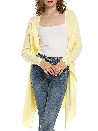 MessBebe Cardigan Mujer Verano Camisa Blusa Manga Larga Mujer Cárdigan Largo Playa Camisetas de Fiesta Blusas Largas Chal Flojo Chaqueta Punto ...