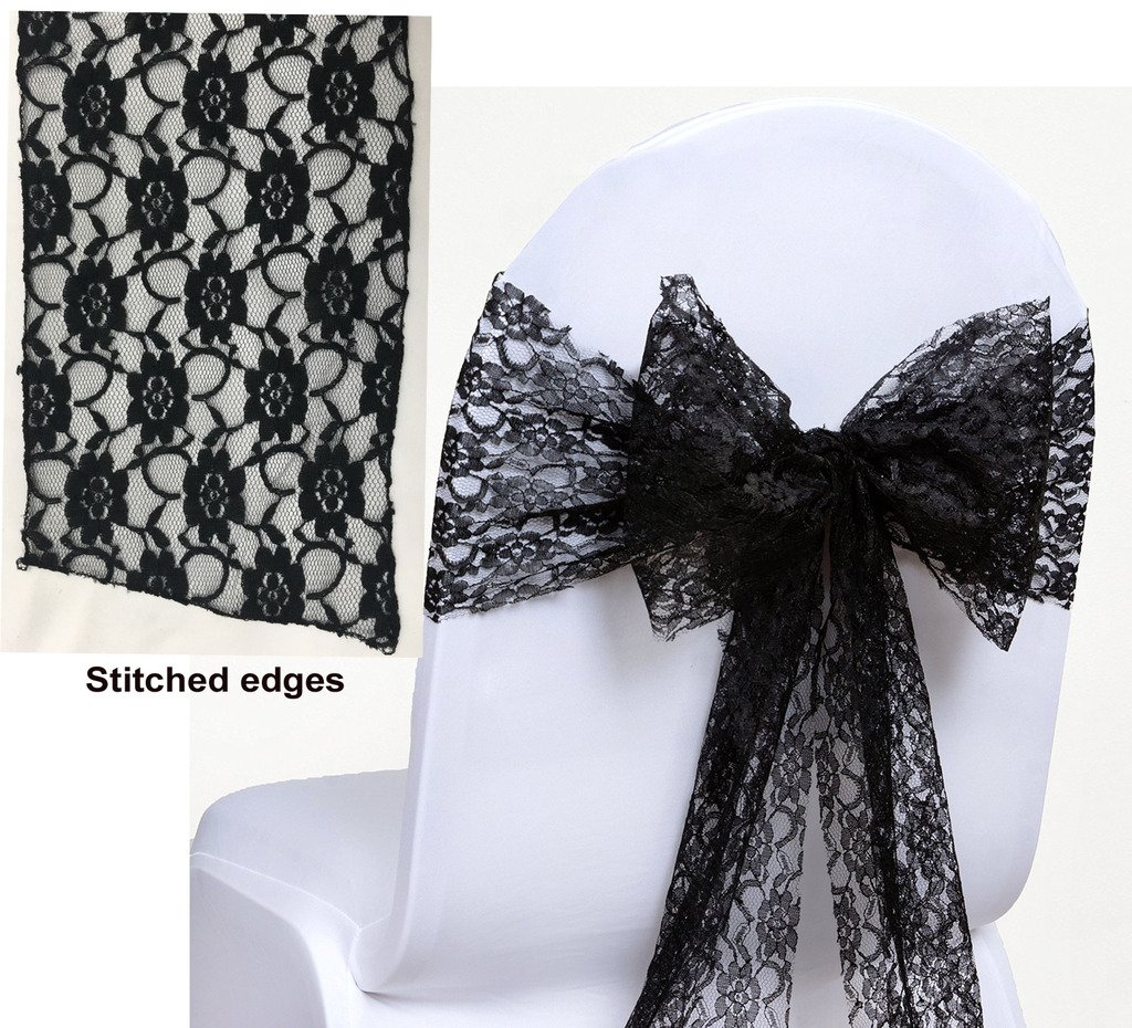 MDS Pack of 150 Lace bow Lace Chair Sashes / Bows sash for Wedding or Events Banquet Décor Party Supplies Chair lace sash - Black by mds