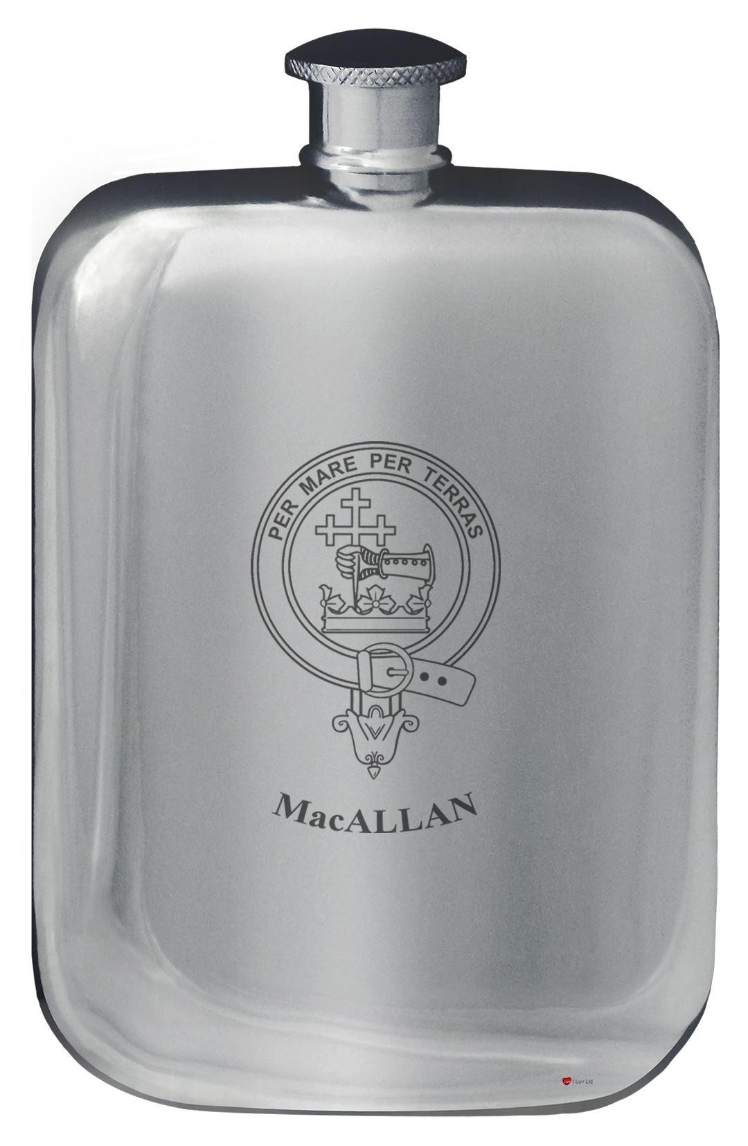MacAllan Family Crest Design Pocket Hip Flask 6oz Rounded Polished Pewter
