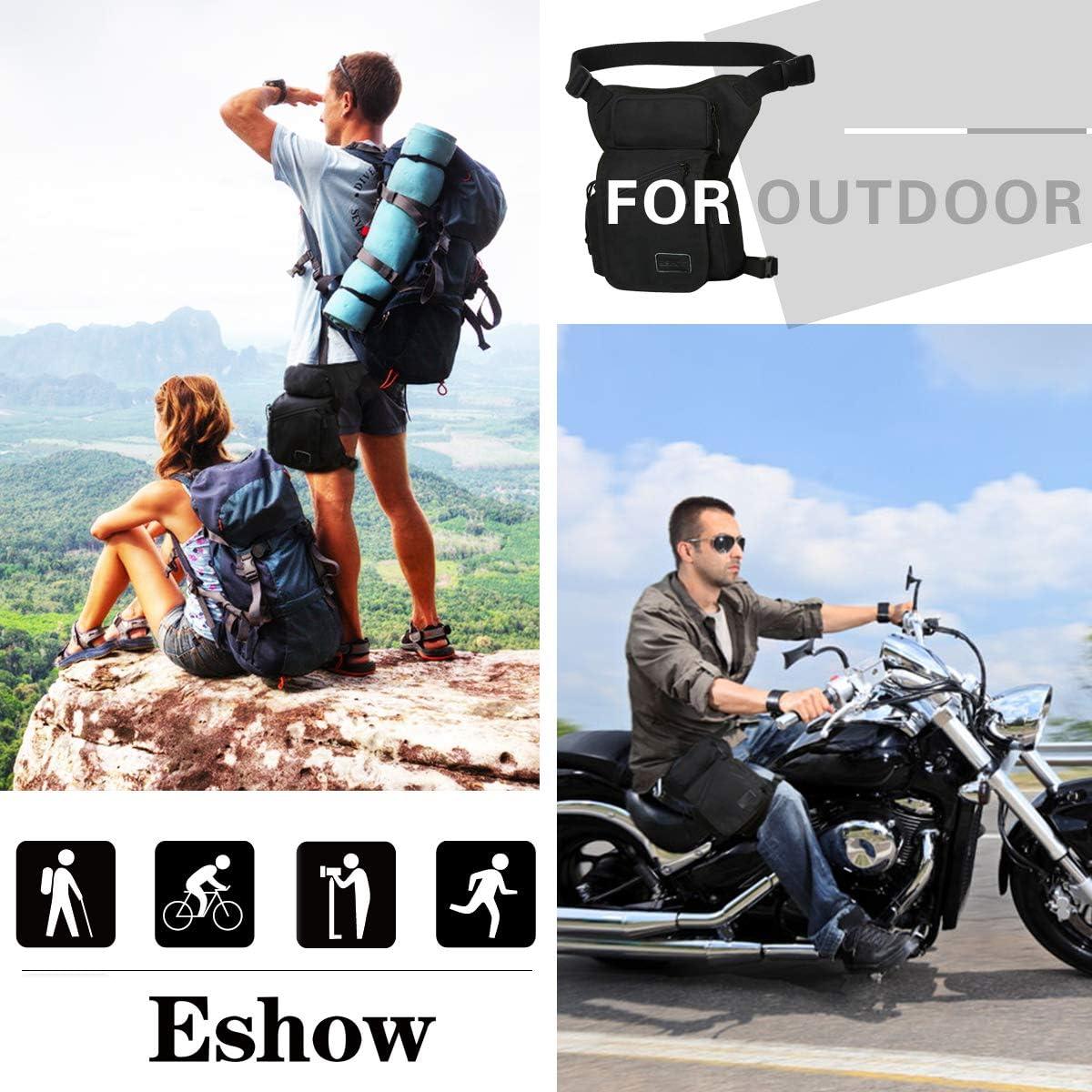 Eshow Borsa da Gamba Marsupio Cosciale Unisex di Tela Trekking Escursioni Sportivo Soft Air Marrone