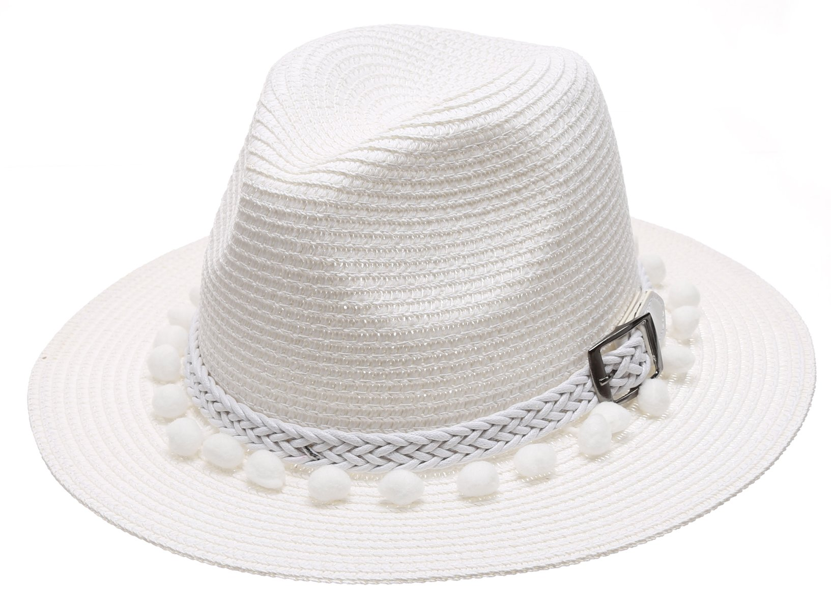 Women's Summer Panama Style Mid Brim Beach Sun Straw Hat With Pom Pom Belt Band.(White)