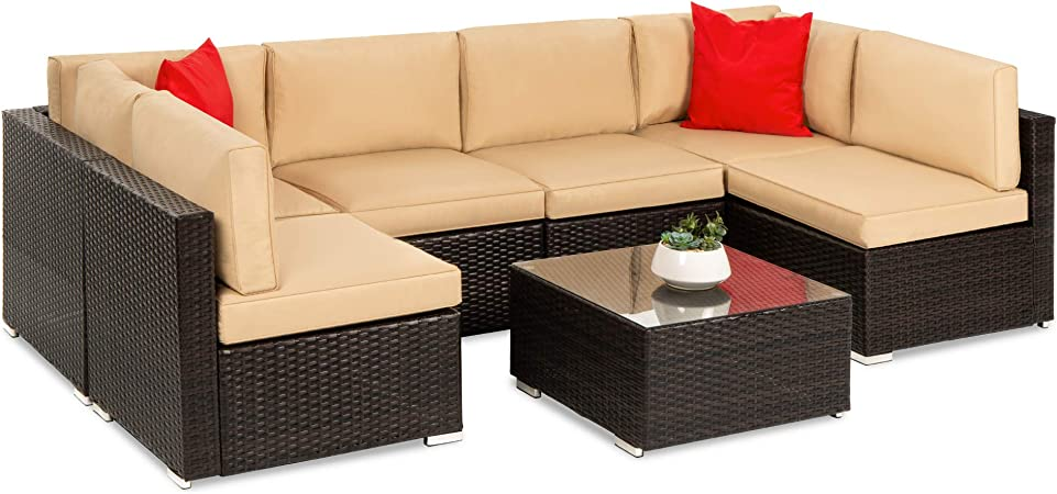 Amazon Com Best Choice Products 7 Piece Modular Outdoor Sectional Wicker Patio Furniture Conversation Set W 6 Chairs 2 Pillows Seat Clips Coffee Table Cover Included Brown Tan Garden Outdoor