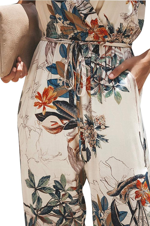 LAIKETE Donna Tute Eleganti Estive Lunghi Floreale Stampato Tutine Jumpsuit Senza Maniche Scollo V Profondo Tuta Intere Senza Schienale Monopezzo Casuali Larghe Pantaloni Playsuit