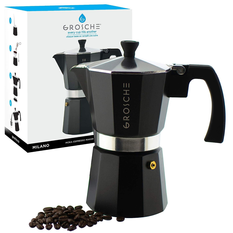 GROSCHE Milano Moka Stovetop Espresso Coffee Maker (6 Cup/9.3 oz, Black)