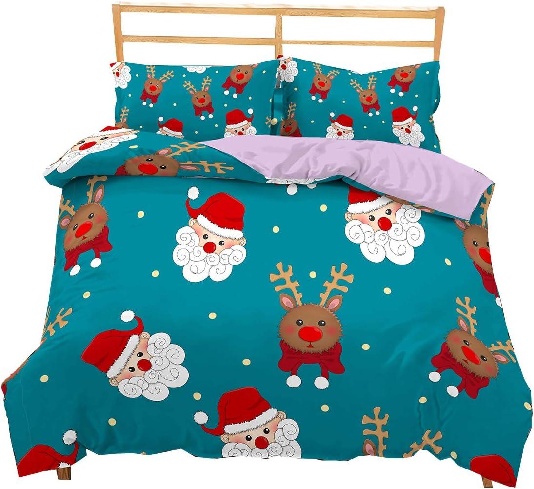 Zeimon Christmas Lightweight Microfiber Duvet Cover Set,Kids Boy Girl Santa Claus Elk Designed Pattern for New Year Decorations-Full