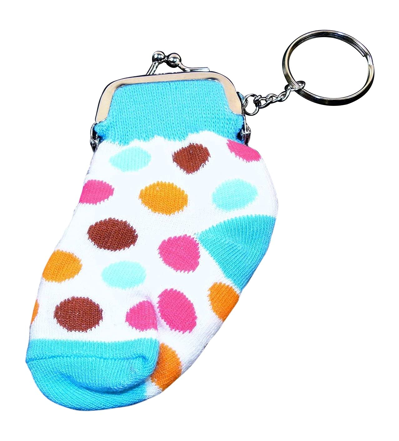Knit Sock Coin Purse with Snap Closure and Monogram Initial.