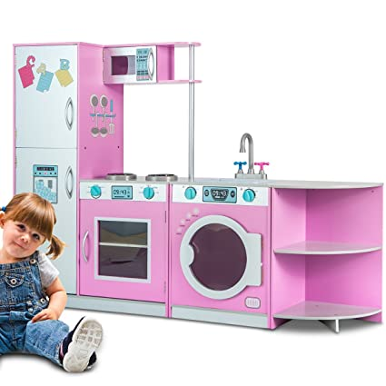 Merax Deluxe Kitchen PlaySet Role PlaySet For Kids, Free Combination Style  (Pink)